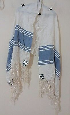 "USED TALLIT TALLIS PRAYER SHAWL 62""X26"" 158X66 CM Blue stripes FREE SHIP #1106"