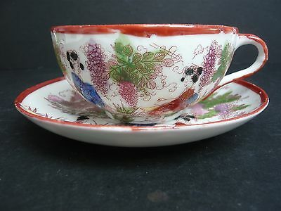 Vintage Oriental Porcelain Cup and Saucer Duo Hand Finished Geisha Girls Design