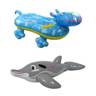 Inflatable Dolphin / Hippo Rider Ride Swimming Pool Beach Swim Toy Water Float