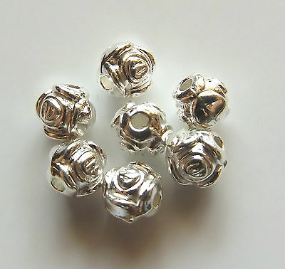 100pcs 6mm Metal Alloy Round Rose Spacer Beads - Bright Silver