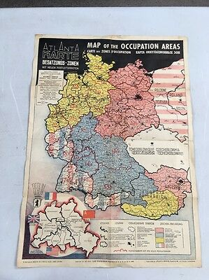 Vintage Map Of The Occupation Areas 1946