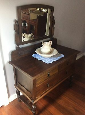 Vintage antique Hardwood 1920s Edwardian Sideboard dressing table with mirror