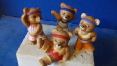 Four Excersise Bears    Porcelain  ** Adorable **