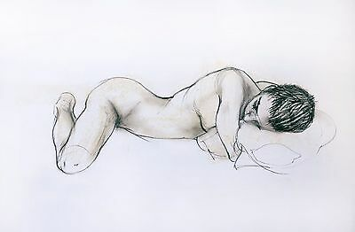 Original signed charcoal drawing, of a female nude by award-winning artist