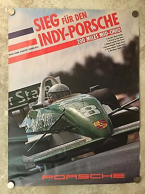 1989 Porsche Indy-Car Mid Ohio Showroom Advertising Poster RARE!! Awesome L@@K
