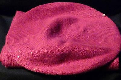 LORD & TAYLOR Cashmere Scarf & Hat Set ~ Solid Raspberry Pink Beret Sequins