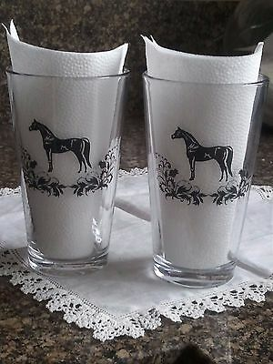 Black Stallion Horse Drinking Glasses ~ Pair