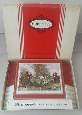 Set Of 6+2 Vintage J F HERRING Fox Hunting Table Mats Placemats - Pimpernel