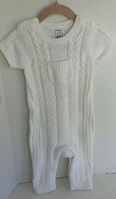 NWT 3 6 9M Unisex Baby girl boy GAP Cable Knit one piece outfit romper White