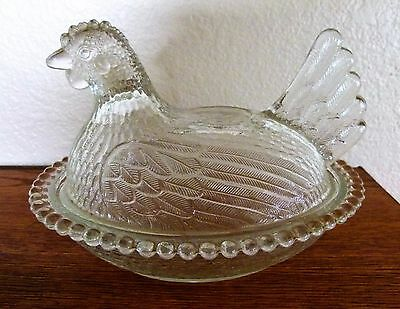 Indiana Clear Glass Hen on Nest Covered Dish Chicken