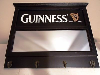 RARE Guinness Mirror Key Coat Rack Wood Bar Man Cave Decor Wall Hanging Picture