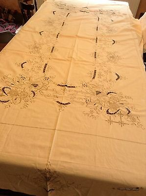 Large vintage Madeira Oval embroidered linen tablecloth, hand embroidery
