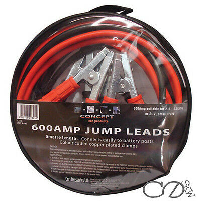 600 Amp Durable Car Van Jump Leads Battery Jumper Booster Cables Recovery 5M