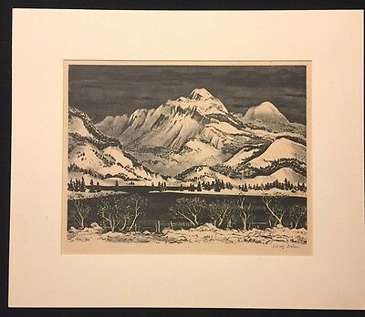 """Adolf Dehn -- """"Lake in the Mountains"""" Original Signed Limited Edition lithograph"""