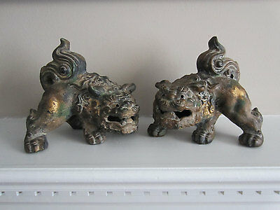 Foo Dogs Aged Paint and Patina Shishi Lions - Big Heavy Cast Foos ~ 12 Pounds!