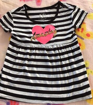 Girls Size 5 Justice Free Flow Amazing Top Size 5 Navy/white/pink/ Eeuc