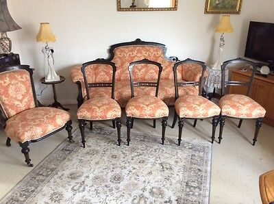 STUNNING VICTORIAN DOUBLE ENDED SOFA plus 4 FORMAL CHAIRS