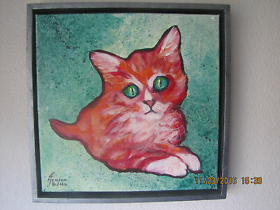 """Kitty Cat"" 11"" x 11"" Original Acrylic Painting, Artist Signed, Dated & Framed"
