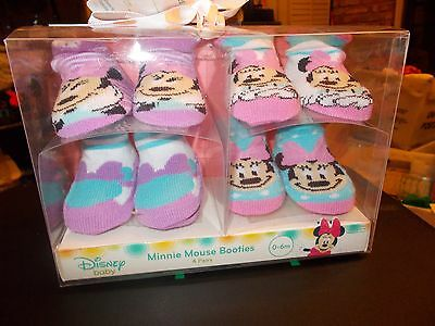 4 pairs of Minnie Mouse booties, 0-6 months-new