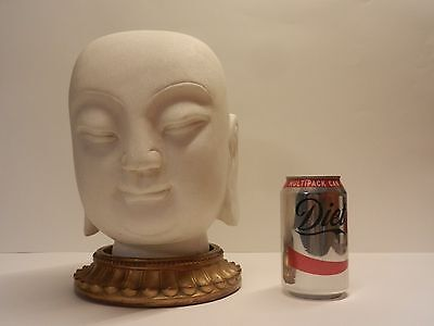 Antique Large Chinese Hand Carved Marble Lohan Buddha Head