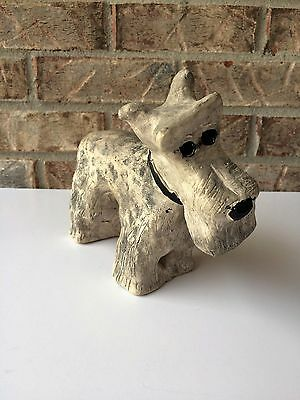 Gray Schnauzer Cropped Puppy Dog Plaster/Clay Statue Handmade Artist Signed