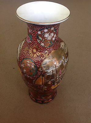 Antique vase with Chinese Japanese Vintage Rare Lot Old Pottery People Flowers