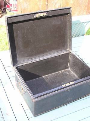 Vintage Black Metal Deed Document Box Tin Chest Handles