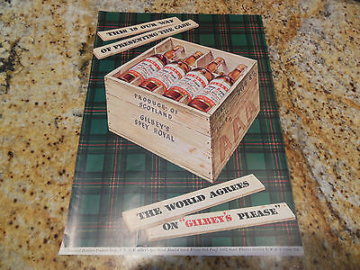Original Vintage 1948 Gilbey's Spey-Royal Scotch Whiskey Wooden Case Ad