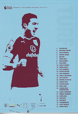 Burnley v Tottenham Hotspur Football Programme - 16/17 Premier League