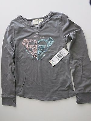NEW Roxy Girls M 12-14 Tee T-Shirt Long Sleeve Gray Pink Home is Where Waves Are