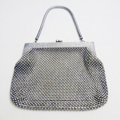 Vintage German Silver Chain Link Mesh Hand Bag Purse