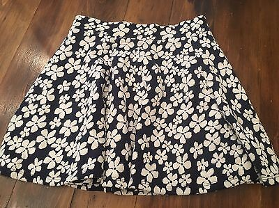H&M Divided Mini Floral Round Swing Skirt Size S Blue White