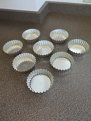 Matfer Bourgeat Fluted Tart Molds (8) with Removable Bottoms