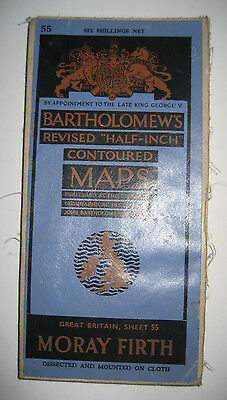 Vintage Bartholomews, 1/2 Inch Contoured, Cloth Map of Mory Firth. 1947.