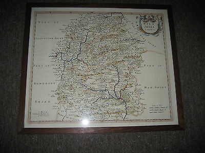 Antique, 18th Century Framed and Glazed Map of Wiltshire, By Robt Morden.