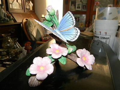 Lenox Fine Porcelain Adonis Blue Butterfly Figurine Dated 1991 Perfect Shape