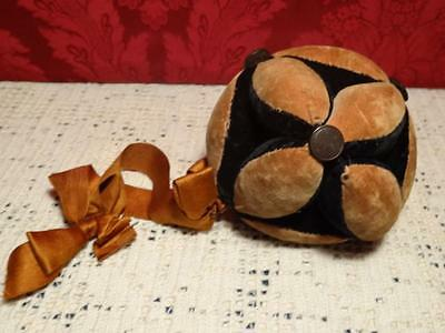 Antique Lg Puzzle Ball Hand Stitched Fabric Pin Cushion ~ Lancaster County Pa.