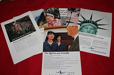 Lot of  8 Vintage United Airline Ads  from the early to mid-60s