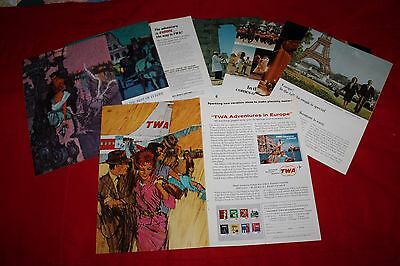 Lot of  8 Vintage TWA Airline Ads  from the early to mid-60s