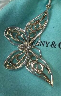 Retired Rare Authentic Tiffany&Co 2tone 18k Gold & 925 Silver Love Butterfly 🦋