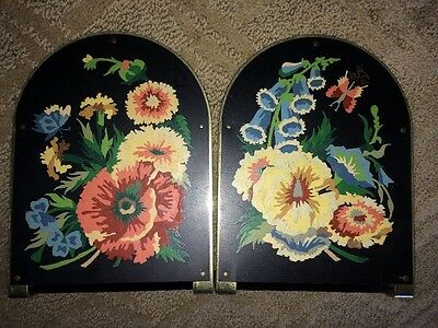 Vintage Pair Of Metal Tole HAND PAINTED Toleware BOOKENDS Black w FLOWERS