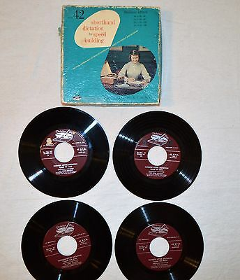 Dictation Disc Set #42 of 4 Shorthand Speed Building discs-Vintage-45 rpm