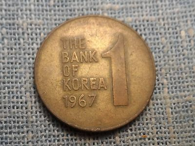 Korea  1967    Won   Rose of Sharon Coin   KM#4