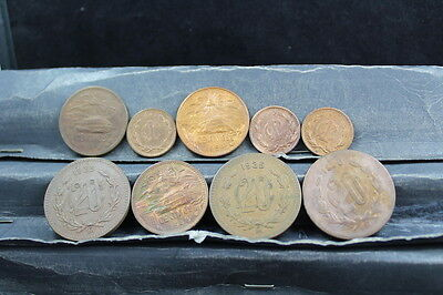 Mexico 9 assorted coins  lot G 732