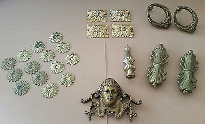 antique vintage Brass furniture ornament Ormalu Lot. French and victorian brass