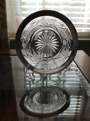 Watson Three Emblems - Sterling Silver And Etched Glass Wine Coasrer , Excellent