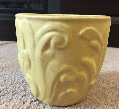 Signed Weller Small Yellow Decorative Planter Pot Potter Pottery