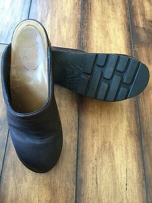 SAGA CLOGS Stockholm Brown Leather Mules Women's Size 38