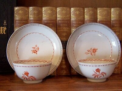 2 Sets of 18th Century Chinese Export Tea Cups & Saucers Rouge De Fer 1800