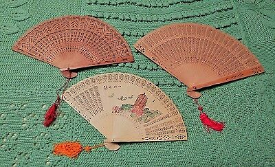 Lot of 3 Vintage Wood Wooden Folding Fans 1 Painted Japanese Intricate Designs